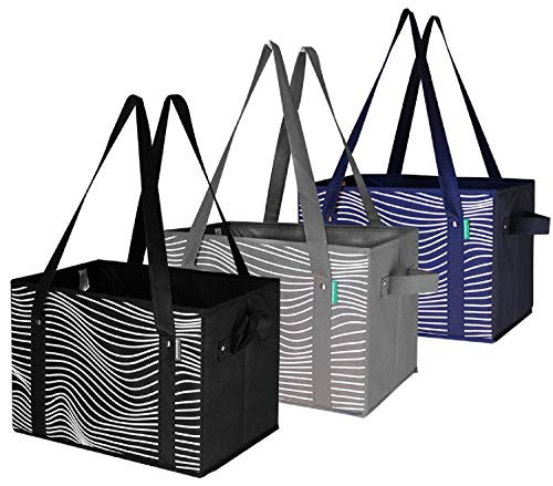 Reusable Grocery Bags Set Shopping Box with Reinforced Bottom Heavy Duty Premium Collapsible Foldable with Long Handles…