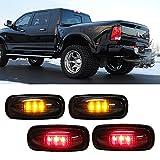 iJDMTOY (4) Smoke Lens LED Fender Bed Side Marker Lights Set For Dodge RAM 2500 3500 HD (2 x Amber, 2 x Red)