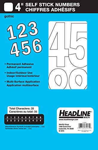 Headline Sign 32432 Stick-On Vinyl Numbers, White, 4-Inch -