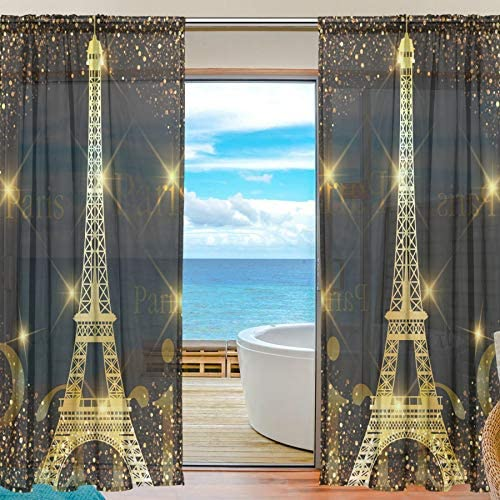 ALAZA Set of 2 Panels Sheer Voile Window Curtain