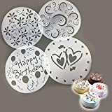 Vistaric 4pcs/lot PVC Spray Mold Coffee Sugar Powder Sieve Cake Moulds Transfer Mould Cake Decorating Tools Kitchen Baking Accessories