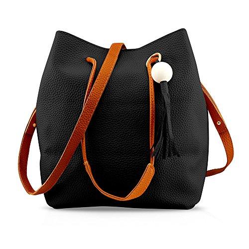 Oct17 Fashion Tassel buckets Tote Handbag, Women Messenger Hobos Shoulder Bags, Crossbody Satchel Bag - Black by OCT17 (Image #6)