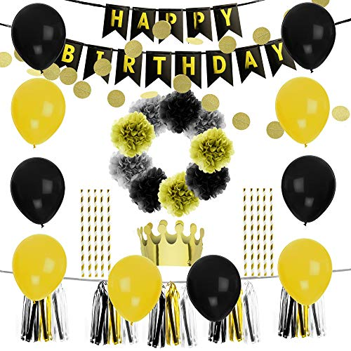 Birthday Party Decoration Pack-10 Gold & Black Balloons-6 Gold Black & Grey Paper Pompoms-1 Free Hat and 10 straws-15 Black White & Gold Tassels-2 Set gold Garlands-1 Happy Birthday Banner-anniversary for $<!--$15.65-->
