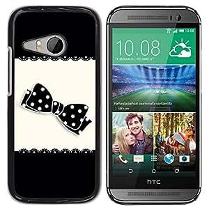 All Phone Most Case / Hard PC Metal piece Shell Slim Cover Protective Case Carcasa Funda Caso de protección para HTC ONE MINI 2 / M8 MINI Bow Black White Polka Dot Pattern