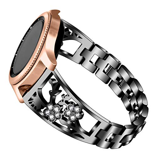 Sodoop Metal Band Compatible for Samsung Galaxy Watch 42mm/Active 40mm, Solid Stainless Steel Straps Replacement Bracelet Rhinestone Jewelry for Samsung Galaxy