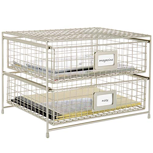 MyGift 2-Tier Brass-Tone Metal Document Organizer Pull-Out Trays with Label Holder