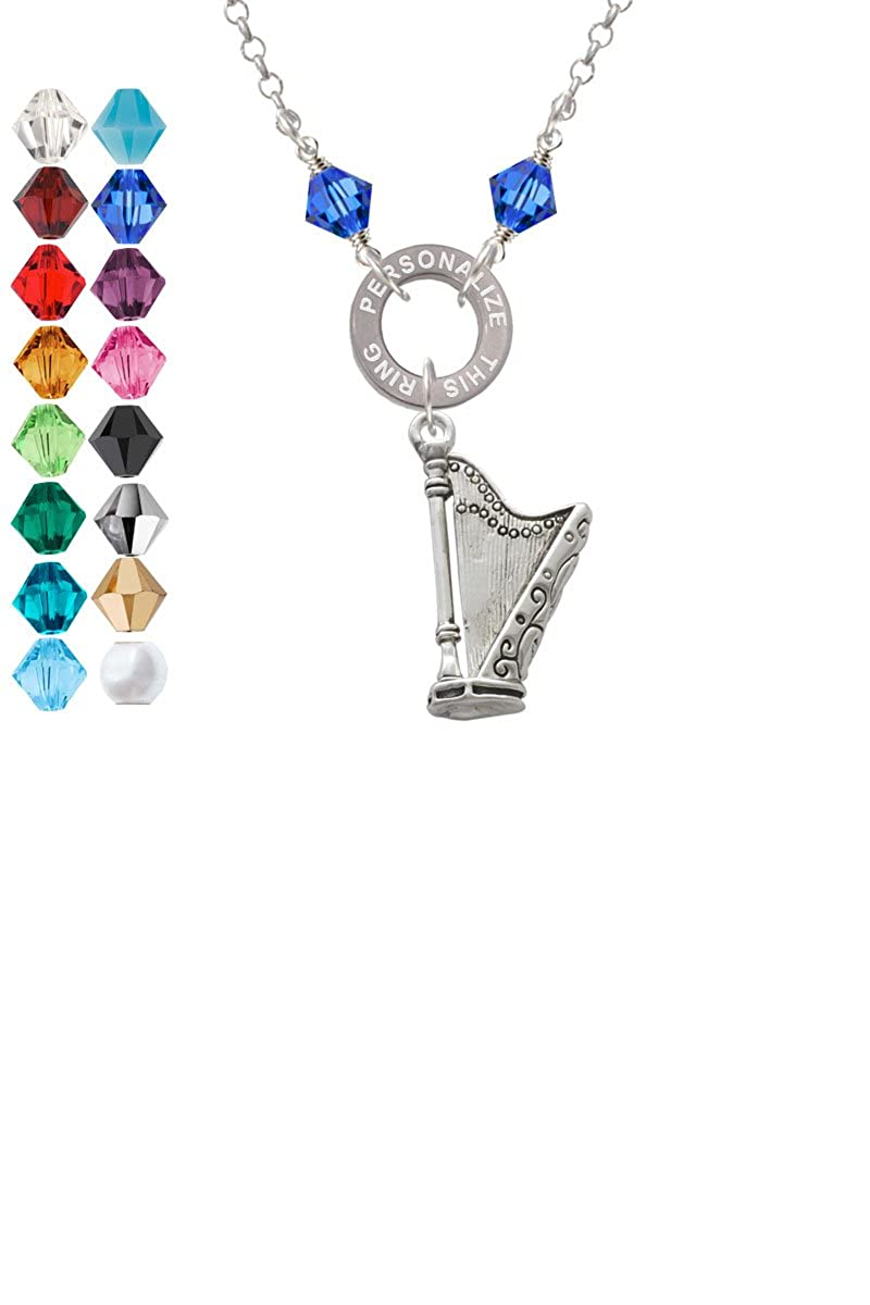 Harp Custom Engraved Name Ring Crystal Necklace