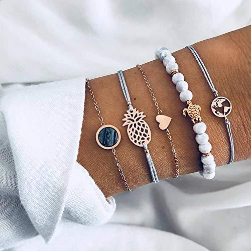 (MMYUSL Bracelet 5 Pcs/Set Women Fashion Beach Peach Heart Turtle Pineapple Beads Bracelet Set Bohemian Vintage Jewelry Accessories)