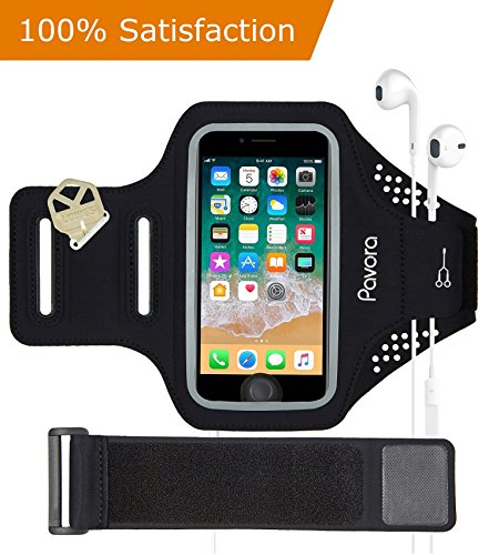 """Phone Armband, Pavora iPhone Armband for iPhone X, 8, 7, 6, 6S, 5 SE, Water Resistant, Fingerprint Access, Card Holder, Free 6 Extender fit arm Size 10""""-21"""" Fits 4.5-5.2 Smart Phone (Black, 5.2"""