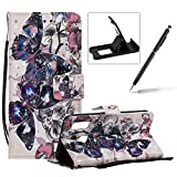 Strap Leather Case for Samsung Galaxy A40,Wallet Flip Case for Samsung Galaxy A40,Herzzer Bookstyle Stylish 3D Pretty Black Butterfly Pattern Stand Leather Case with Soft TPU