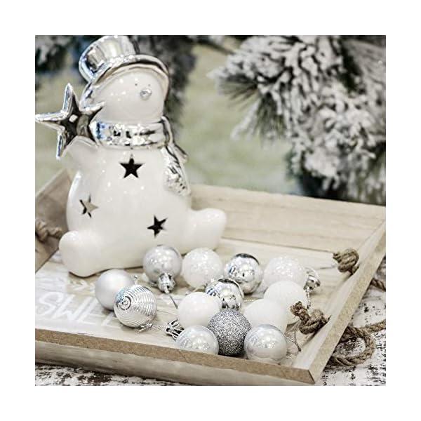 Victor's Workshop 54 Pezzi 3cm Palline di Natale, congelati Inverno Argento e Bianco Infrangibile Palla di Natale Ornamenti Decorazione per la Decorazione Dell'Albero di Natale 5 spesavip