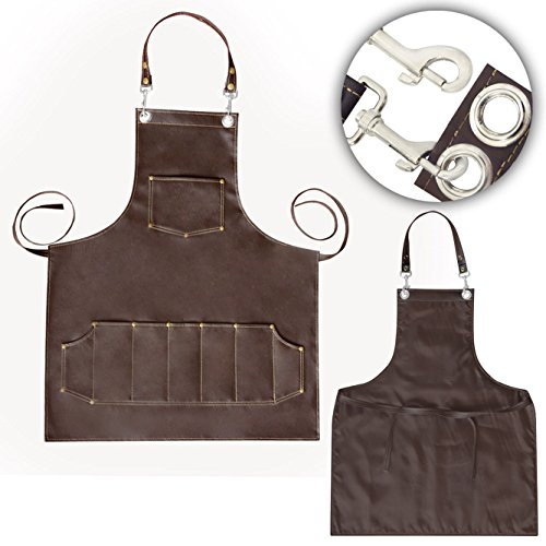 "Price comparison product image Facón Professional Leather Hair Cutting Hairdressing Barber Apron Cape for Salon Hairstylist - Multi-use, Adjustable with 8 pockets - Heavy Duty Premium Quality - Limited Edition - 30"" x 24"" (Brown)"