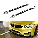 iJDMTOY (2) Universal Black Aluminum Front Bumper Lip Splitter Strut Rod Support Bars, 8'' to 9.5'' (203mm to 241mm) Adjustable