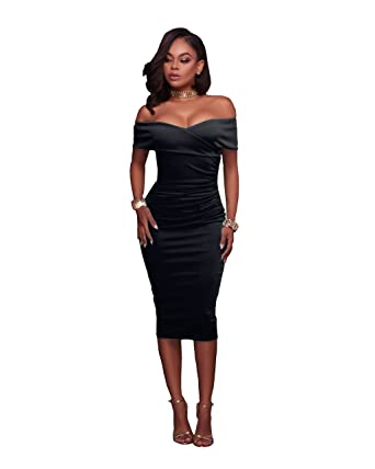 c35ab48a66e7 VERTTEE Off Shoulder Women s Sexy Ruched V Neck Bodycon Dress Midi Tight  Wrap Club Party Dress