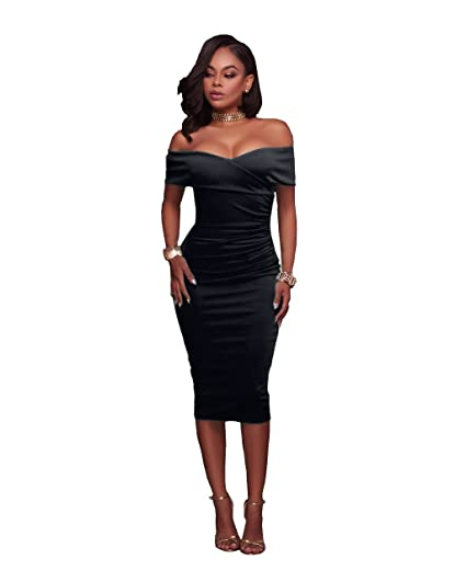 60b88df13a15 VERTTEE Off Shoulder Women's Sexy Ruched V Neck Bodycon Dress Midi Tight  Wrap Club Party Dress