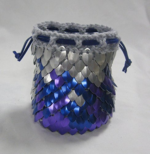 Scale Armor Dice Bag of Holding in knitted Dragonhide- Cold Fire - XL Holds over 100 dice by Crystal's Idyll