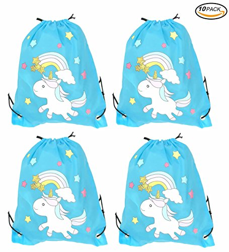 Alemon Unicorn Party Bags Supplies for Kids, Rainbow Drawstring Backpack Bulk Set of 10 for sale