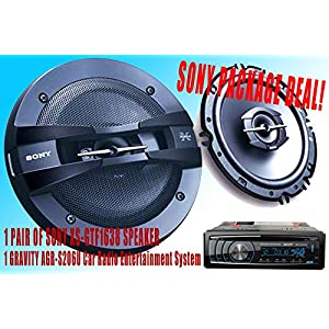 "SONY Package Deal! 1 Pair Sony 6.5"" XS-GTF1638 Car Speaker + 300W GRAVITY AGR-S206U Car Radio Entertainment System Receiver - Built-in SD/USB/Front Aux - Mp3 Playable"