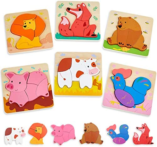 Wooden Toddler Puzzles Ages 1-3 Animals Jigsaw Puzzle for 1 Year Old Girl and Boy Gifts Montessori Toys for One Year Old - 6 Pack