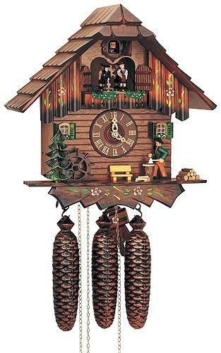 8-Day Chopper Chalet Style Black Forest House Cuckoo Clock