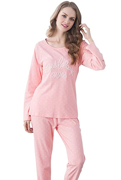 LvRao -Pijamas de Algodon para Mujer - Manga Larga - Bordado Alfabeto - Ropa de