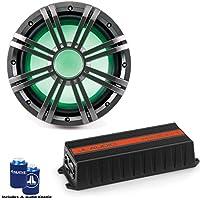 JL Audio HX300/1 Marine Subwoofer Amplifier with Kicker KMW102 10 Charcoal LED Marine Subwoofer