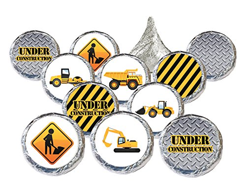 Under Construction Party Favor Stickers (Set of 324 stickers)