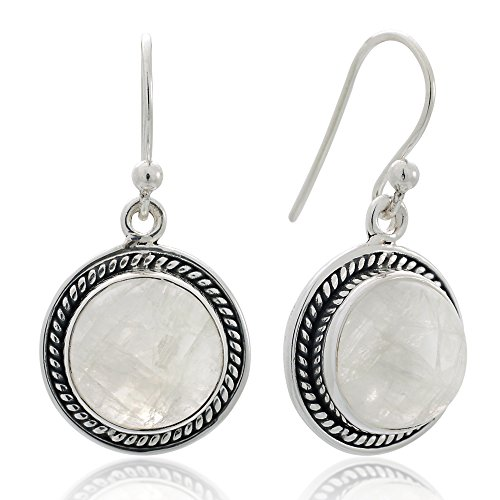 925 Sterling Silver Natural Moonstone Gemstone Rope Edge Round Dangle Hook Earrings ()