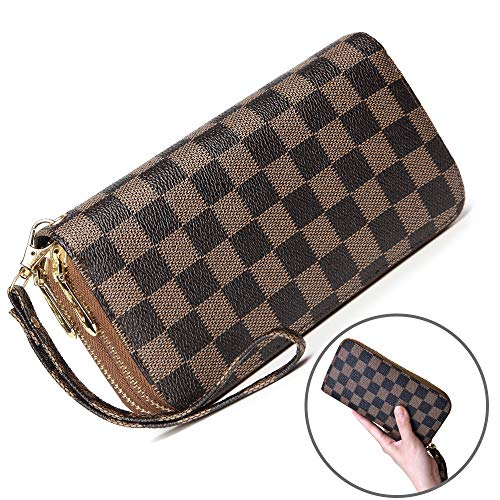 (Wristlet Wallets for Women Leather Big Long Zipper Clutch RFID with Card Holder Organizer (brown))