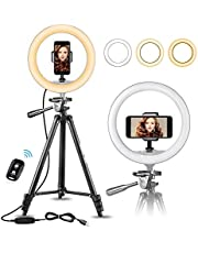 """UBeesize 10"""" Selfie Ring Light with 50"""" Extendable Tripod Stand & Flexible Phone Holder for Live Stream/Makeup, Mini Desktop Led Camera Ringlight for YouTube Video, Compatible with iPhone/Android"""