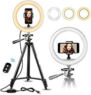 """UBeesize 10"""" Selfie Ring Light with 50"""" Extendable Tripod Stand & Flexible Phone Holder for Live"""