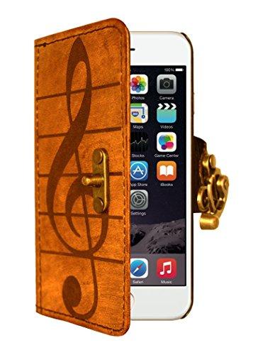 """A Little Present """", handgemacht, Vintage-Stil, Solo-Dekoration"""" Leder-Klappetui (mit Schloss für iPhone 6, Braun"""