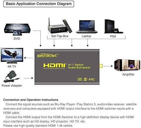 Conmutador HDMI, unstincer 4 K x 2 K mezclador 4 en 1 Out Extractor de Audio con 5.1 CH óptico Toslink coaxial salida y remoto apoyo 3d MHL ARC CEC Dolby Digital