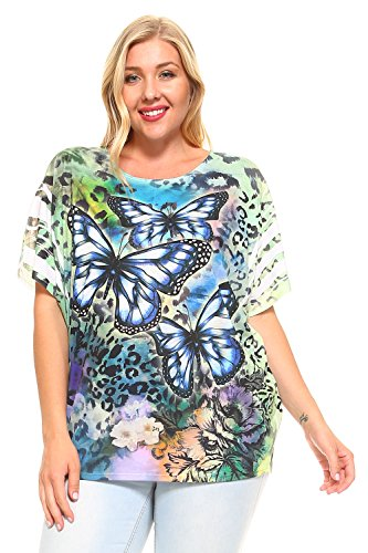 Butterfly Plus Size T-shirt (ALLBrand Women's Plus Size Scoop Neck Fashion T-Shirt Sublimation Print Top Tee (Butterfly, 3X-Large))