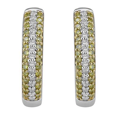 Jewelili femme  Argent 925/1000  Argent|#Silver Rond   Jaune Diamant