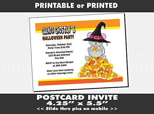 Candy Corn Mouse Halloween Party Invitation, Printable or Printed Option -
