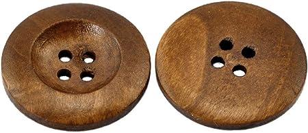 4 Löcher basteln Sadingo Holzknöpfe Braun zum aufnähen - Ø 6 cm 10 Stk