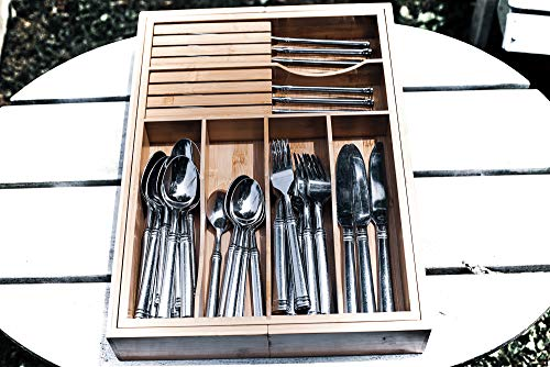 Adjustable Expandable Kitchen Utensil Drawer Organizer and Storage Tray by Bamboo Cottage 100% Bamboo Ergonomic silverware dividers, removable cutlery knife blocks, non slip for kitchen and office. by Bamboo Cottage (Image #5)