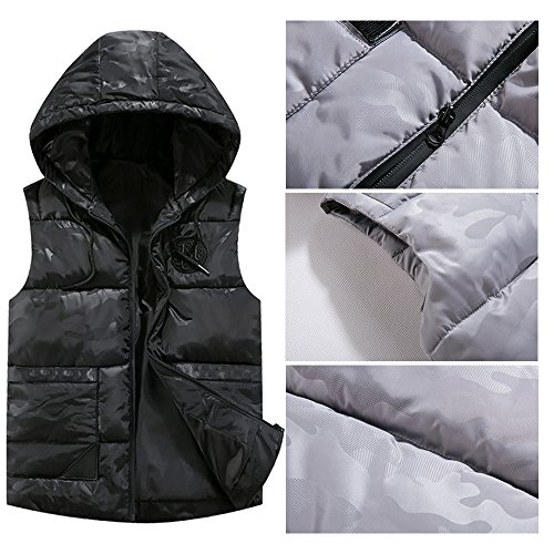 Down Down Zipper amp; Black Winter BOZEVON Autumn Jacket Mens Waterproof Outwear Sleeveless Vest Windproof Hooded Coat Owgw4