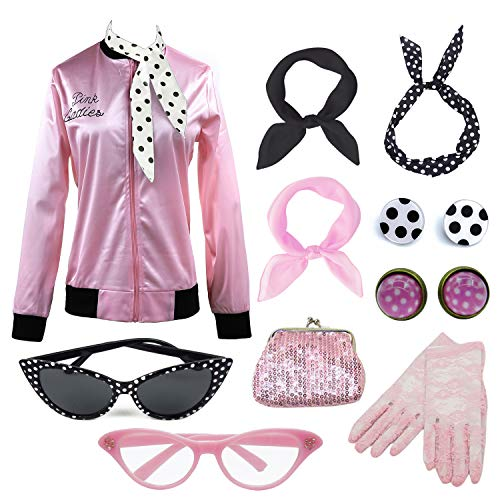 Vintageplace23 Retro 1950s Pink Lady Jacket Fancy Dress 50s Halloween Costume (S, Pinklady Set01) -
