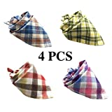 FUNPET 4 PCS Dog Bandana Triangle Bibs Checked Scarfs Accessories for Pet Cats and Puppies