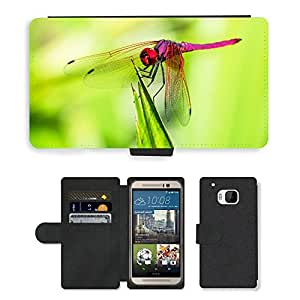 GoGoMobile Flip PU Leather Wallet Case with Credit Card Slots // M00118335 Dragonfly Insect Close // HTC One M9