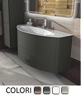 mobile arredo bagno sospeso con lavabo in cristallo bianco o ... - Lavabi Con Mobile