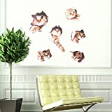 6PCS 3D Wall Stickers Cats Self Adhesive, Kids Wall Decals / Removable Vinyl Art Murals for Living Room Baby Rooms Bedroom Toilet House Wall DIY Decoration
