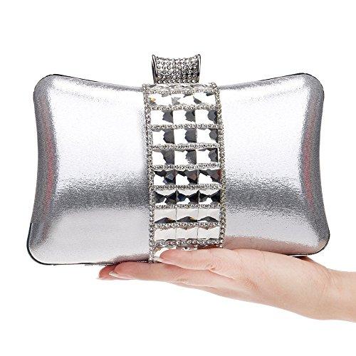 Soirée de Messenger Embrayages Sac Sacs silver Robes Soirée Métal Soirée Strass Femmes Cristal Robe Pour TuTu Sacs BwP4gqxB