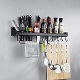 Kitchen Shelf Wall-mounted Kitchenware Storage Shelf Spice Shelf,Space Aluminum,black, With Hooks And Towel Holder -by TIANTA (Size : 60cm)