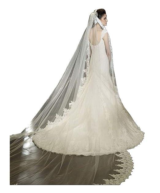 5220e9bc7e FJMM - Velo largo de encaje para novia