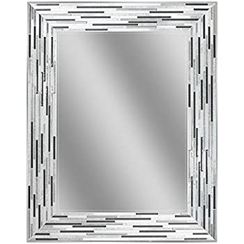 Amazon Com Headwest Reeded Charcoal Tiles Wall Mirror 30 X 24