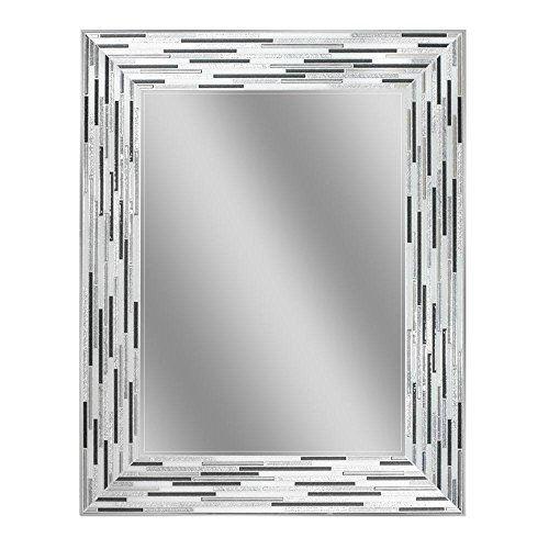 "Headwest Reeded Charcoal Tiles Wall Mirror, 30 inches by 24 inches, 30"" x 24"""