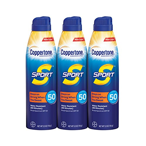 (Coppertone SPORT Continuous Sunscreen Spray Broad Spectrum SPF 50 Multipack (5.5 Ounce Bottle, Pack of 3) (Packaging May Vary))